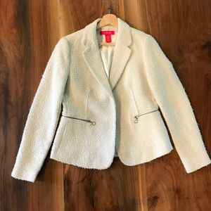 Catherine Malandrino ivory boucle fitted blazer